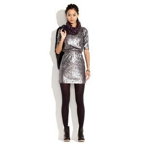 MADEWELL Last Dance Dress Silver Sequins